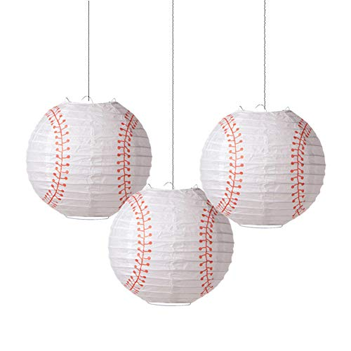 8'' Baseball Paper Lanterns Sports Team Party Decoration 3 Pieces Easy Joy
