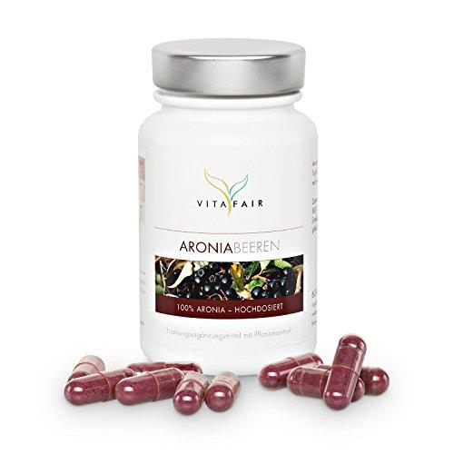 VITAFAIR Aroniabeeren   60 Kapseln mit 400 mg Aronia Melanocarpa Frucht-Extrakt   Starkes natürliches Antioxidans   Apfelbeeren sind reich an Anthocyanen   vegan