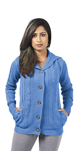 CutyFashion Women's 100% Acrylic Knit Open Front Button Fashionable Cardigan Sweater Coat.(S, Blue) -