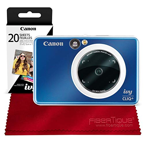 Canon Ivy CLIQ+ Instant Camera Printer (Sapphire Blue) + 30 Sheets Photo Paper + Basic Accessories Bundle (USA Warranty)