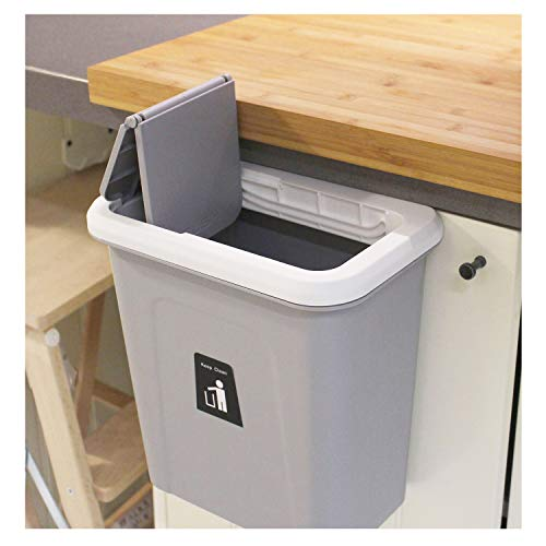 kary chef Hanging Trash Can,Small Cabinet Kitchen Trash Can, Garbage Can for Kitchen Cupboard with Automatic Return Lid,Grey - Can Grocery Trash Bag