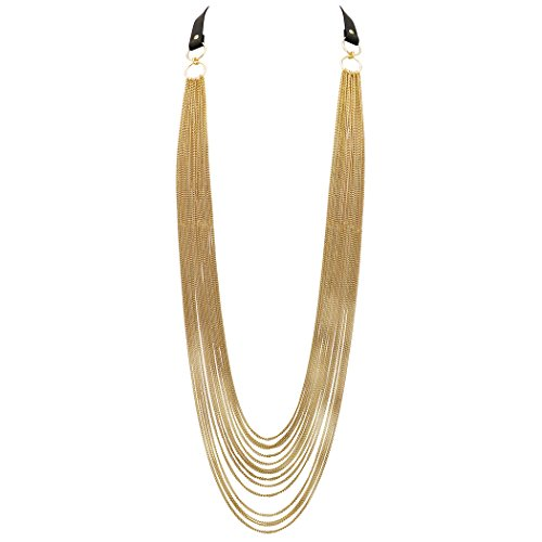 Rosemarie Collections Women's Multi Strand Chain Fancy Long Necklace (Gold Color)