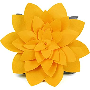 kilofly Home Decor Throw Pillow Cover, 18  x 18 , 3D Dahlia Yellow, Dark Grey