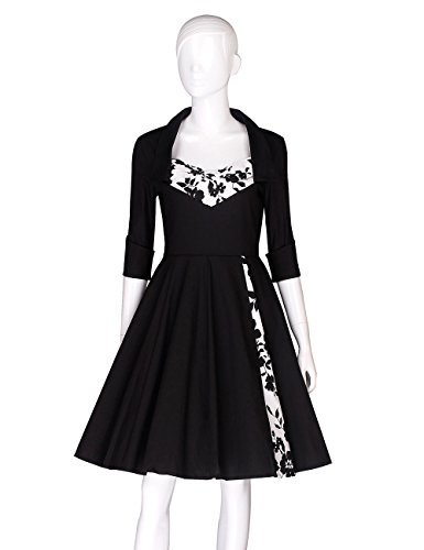 AURORA Women's Vintage Classical Floral Printed Half Sleeve Party Swing Dress-test2