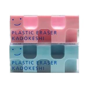 Kokuyo Kado-Keshi Petit Eraser, Set of 2, Pink/Blue (Keshi-U750-3)