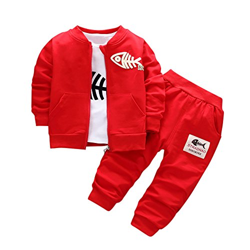 VEKDONE Baby Boys' Fleece Hoody Pant Set, Coat+T Shirt -