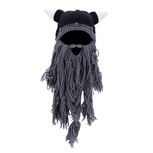 Beard Hats, Knit Viking Horns Winter Warm Hat Bull Cow Horn Cosplay Beard Head Halloween Beanie Caps(Gray)