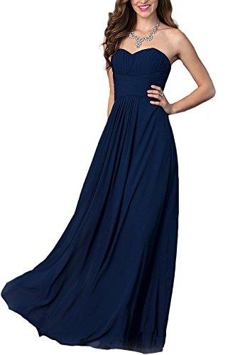 Abendkleid bodenlangen Chiffon Marine Erosebridal Brautjungfernkleid qxOwwg
