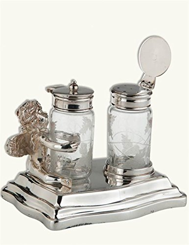 (Victorian Trading Co Silverplate Cherub & Glass Lidded Salt & Pepper Shakers)