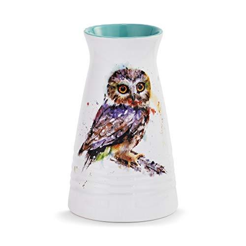 DEMDACO Dean Crouser Saw Whet Owl Bird Watercolor Blue 7 x 5 Glossy Ceramic Stoneware Bud Vase