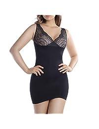 MD Women's Shapewear Nylon Short Full Length Firm Control Slip Body Shaper BlackL