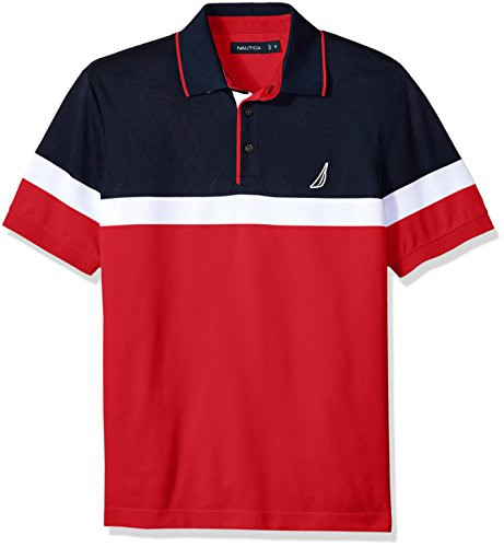 Nautica Men's Classic Short Sleeve Color Block Moisture Wicking Polo Shirt, Red, X-Large