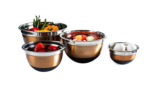 Access 4 Pc Copper Brushed Mixing Bowl Set w/ Silicone Nonskid Base - Stainless Steel Flat Base Serving Bowl or Prep Bowls occupation