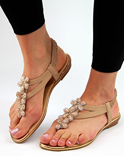 New Womens Flat Sandals Ankle Strap Toe Post Flower Embellished Summer Shoes Beige pM9x55