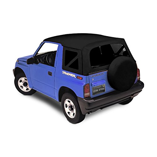 Sierra Offroad Suzuki Sidekick / Chevy Tracker Soft Top 86-94 in Black Leather Grain Vinyl with Tinted Windows