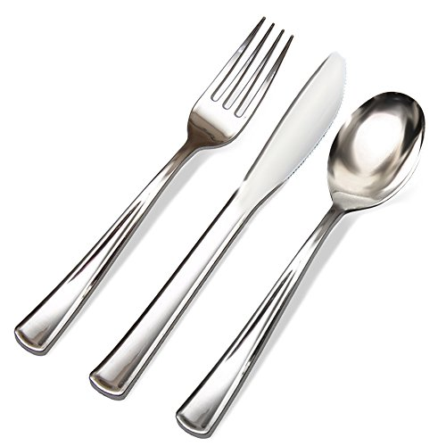 300 Silver Plastic Cutlery Premium Quality Disposable Silverware Polished, 100 Forks, 100 Knives & 100 Spoons, Heavy Duty Flatware Utensils for Parties, Weddings, and Catering]()