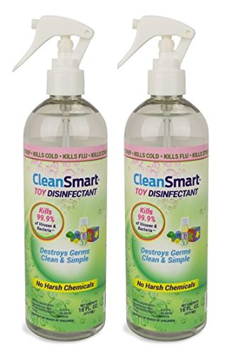 Price comparison product image CleanSmart Toy Disinfectant Spray - No Rinse, No Wipe, Kills 99.9% of Germs, Bacteria, Viruses, Fungus, Mold, Leaves No Chemical Residue. 16oz, 2 Pk. Great for mouth toys!