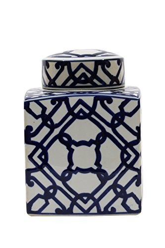 Large Square Blue and White Ceramic Ginger Jar with Lid - Blue Ginger Jar