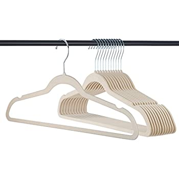 Premium Velvet Hangers Heavy duty - 50 Pack Clothes Hangers - Non slip IVORY Suit hangers - Clothes Hanger Hook swivel 360 - Ultra Thin