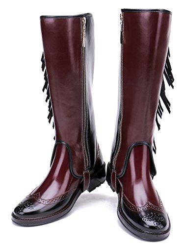 Tongpu Womens Mid Kalf Regenlaarzen Mode Kwastje Regen Schoenen Voor Vrouwen Wijnrood