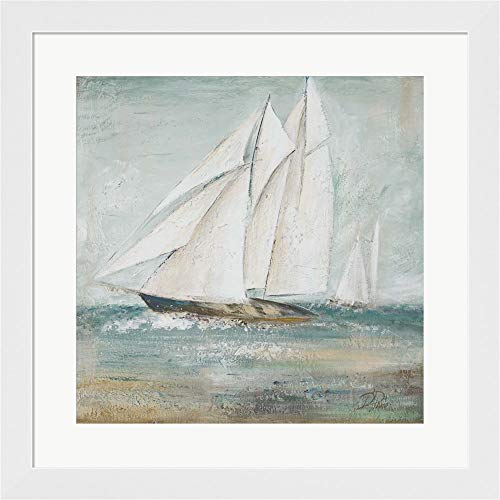 Cape Cod Sailboat I by Patricia Pinto Framed Art Print Wall Picture, White Flat Frame, 20 x 20 inches