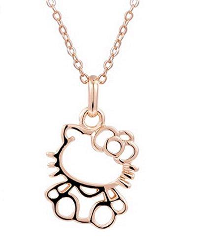 Glazed Black Cherry Sweet - Hello Kitty Minimalist Gold Tone Pendant - Fashion Jewelry for Girls Flower - Hello Kitty Gold - Hello Kitty Sweets