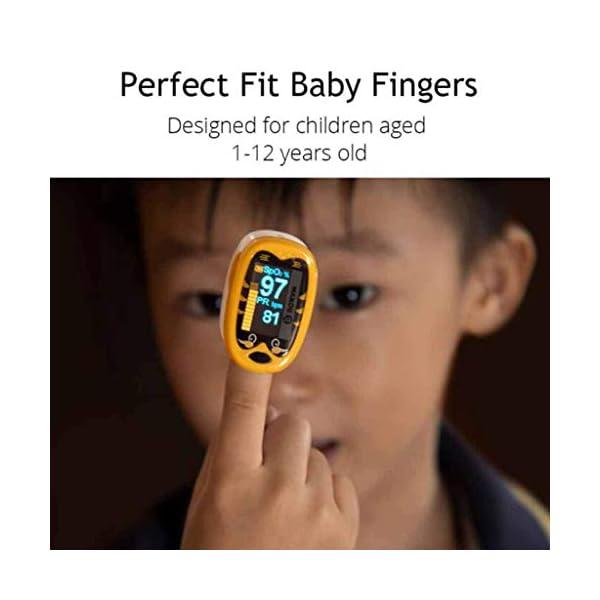 JYKOO Bebé Dedo Oxímetro De Pulso Pediátrico 1-12 Años Oximetro De Dedo Spo2 Pr OLED Neonatal Recargable Niños… 10