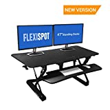 FlexiSpot Standing Desk - 47'' wide platform Stand Up Desk Riser with Quick Release Keyboard Tray (L-Size-Black)