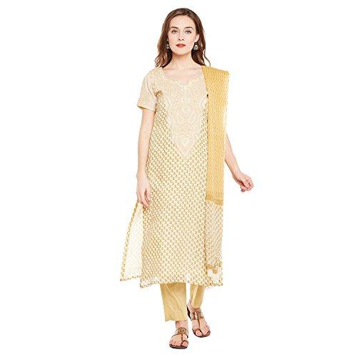 PinkShink Chanderi Lucknowi Chikan Hand Embroidered Kurta Trouser Dupatta Set prt252 (XL) Beige