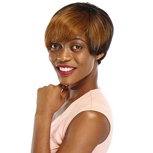 100% Remy Human Hair Wigs Straight Short Wigs For Black Women Pixie Cut Wig Two Tone Color (ombre Black Auburn)