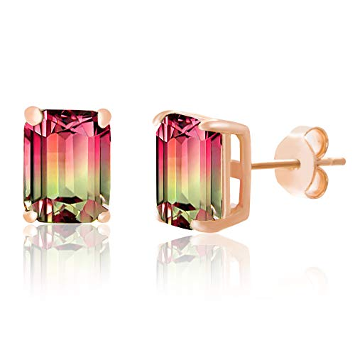 Earring Tourmaline Emerald Cut Pink - INSPIRED BY YOU. Emerald Cut Prong Set Simulated Watermelon Tourmaline and Round Cubic Zirconia Stud Earrings for Women in Rose Gold Plated Sterling Silver