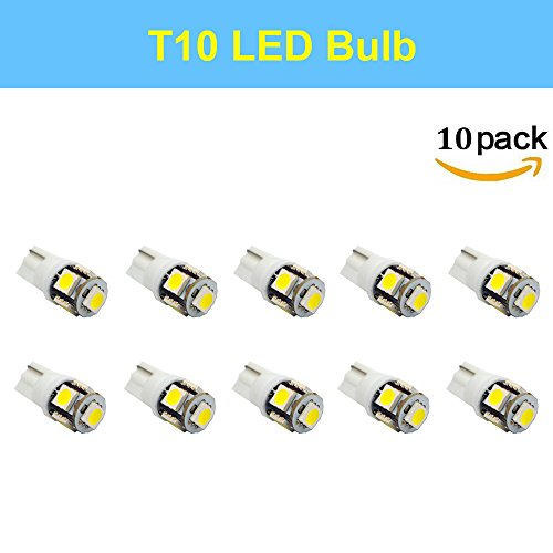 Makergroup T10 194 MiniatureWedge LED Light Bulbs 12V W5W 2825 158 192 168 194 Cool White for Automotive Car Lights Side Marker Dome Map Door Courtesy License Plate Lights (1W 10-Pack)