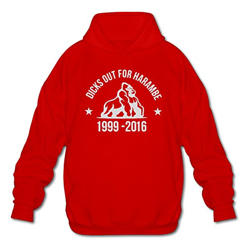 Men's Dicks Out For Harambe YouTube Hooded Sweatshirt Red