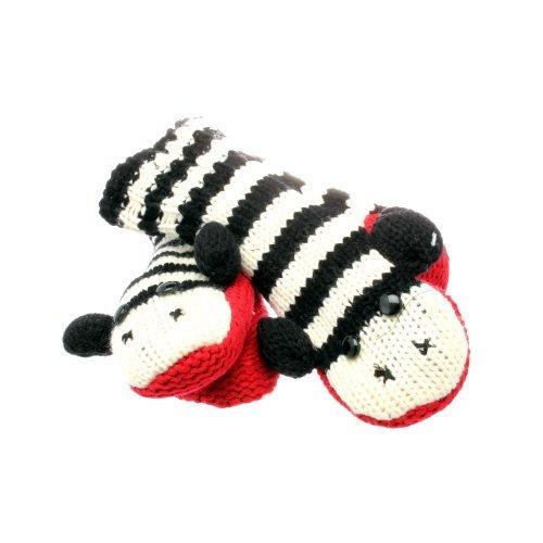 Accessoryo Women's Stripey Monkey Style Animal Mittens One Size Black and White