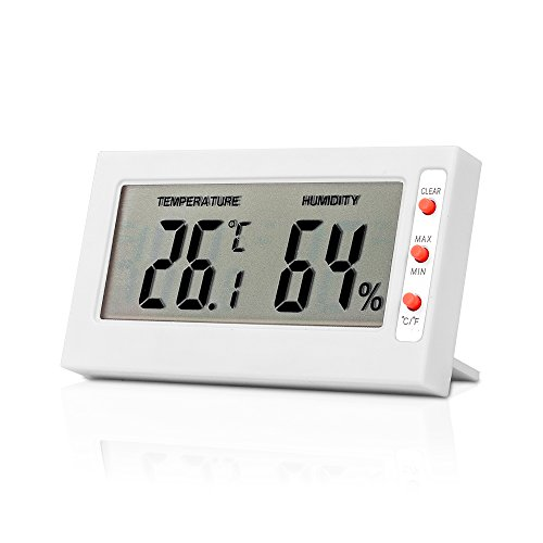 TOP-MAX Mini Thermometer Digital Temperature Humidity Meter Gauge Hygrometer LCD Screen Works in Celsius Fahrenheit White Indoor Use