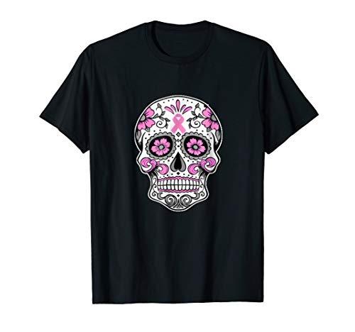 Halloween The Breast Cancer Awareness-Sugar Skull T Shirt]()