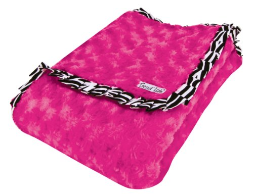 - Trend Lab Velour Blanket with Trim, Pink Rosette with Zebra