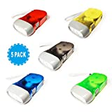 LonHoo 5 Pack Hand-pressing Flashlight 3 LED Super Bright 350LM Hand Crank Flashlight Hand-Powered for Immediate Emergency No- Battery Required and Translucent Case (Colourful)