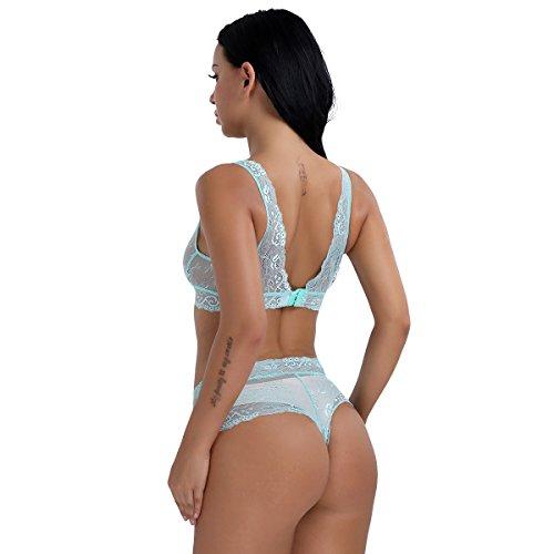 iEFiEL Lencería para Mujer Picardías Pijamas Sujetador Top y Tanga Ropa interior de Encaje Mujer Azul