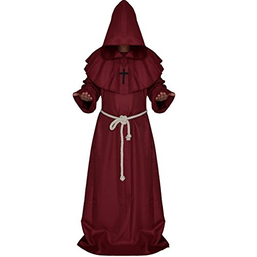 MorySong Men's Medieval Monks Hooded Robe Tunic Halloween Costume Cloak Cosplay S (Medieval Robes And Cloaks)