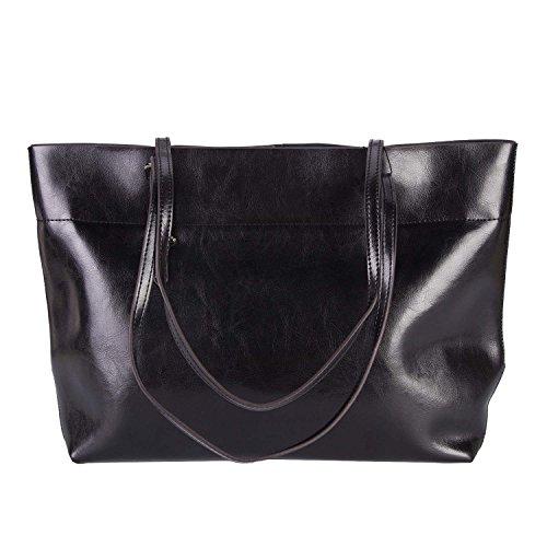 Clocolor Women's Handbag Vintage Genuine Leather Tote Soft Hot Shoulder Bag Casual Satchel Bags