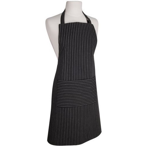 Now Designs Basic Cotton Kitchen Chef's Apron, Black with White Pinstripe