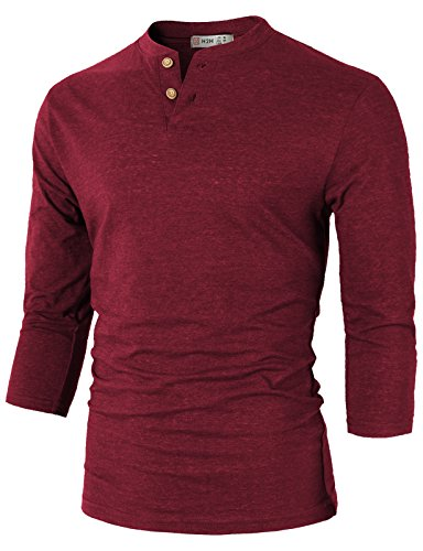 H2H Mens Casual Slim Fit Basic Henley Long Sleeve T-Shirt DarkRed US 3XL/Asia 4XL (CMTTS0194)