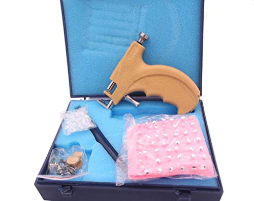 1 Set Professional Steel Safety Ear Body Lips Nose Navel Body Piercing Gun Safety Pierce Tool Beauty Kit with 108 Steel Ear Studs Set Asepsis Pen and Storage Case (Ear Piercing Gun Set)