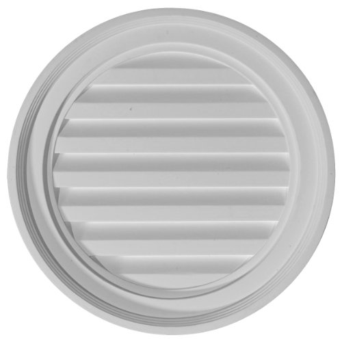 Ekena Millwork GVRO18D 18-Inch W x 18-Inch H x 1 3/4-Inch P Round Gable Vent Louver, Decorative