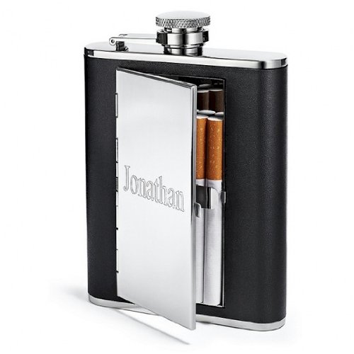 Flask Cigarette Holder - TOP SHELF FLASKS 6oz Leather Hip Flask with Cigarette Case, Free Custom Personalization