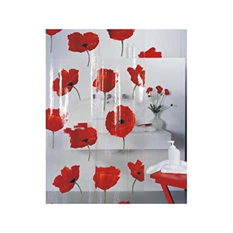 Spirella Poppy Cinnibar Rideau de douche Plastique PEVA transparent Motif coquelicots Rouge 180 x 200 cm