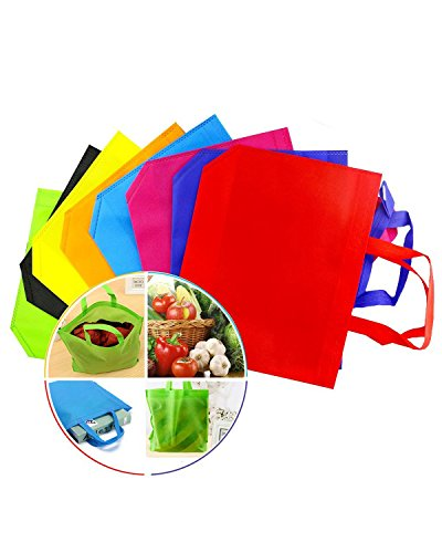 "Newbested 32 PCS 13""×10"" Assorted Colors Party Gift Tote Bags,Polyester Non-Woven Material,Assorted Colorful Blank Canvas Bags,Rainbow Colors With Handles For Birthday Favors, Snacks, Delivery Bag, ra"