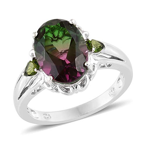 - 925 Sterling Silver Platinum Plated Oval Watermelon Quartz Chrome Diopside Ring For Women Size 7 Cttw 5.6