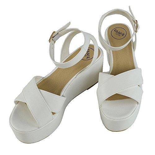 ESSEX GLAM Damen Keilabsatz Plateau Schuhe Offene Zehen Knöchelriemen mit Schnalle Sandalen Weiß Kunstleder
